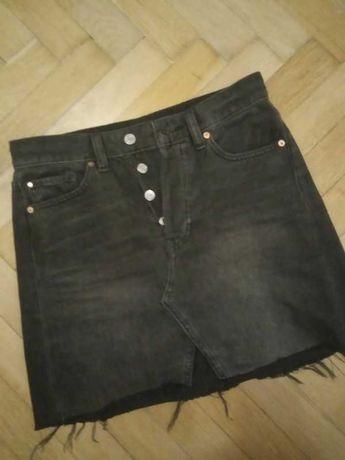 spódnica jeansowa szara h&m