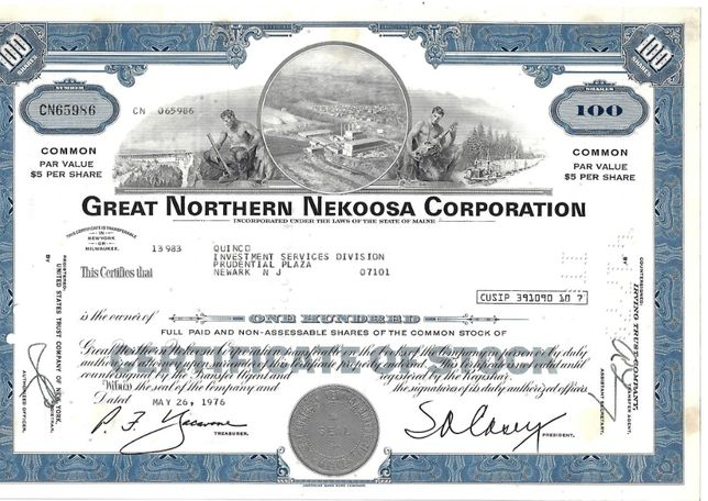 Bonds Shares Ações Great Northern Nekoosa Corporation 1976 USA