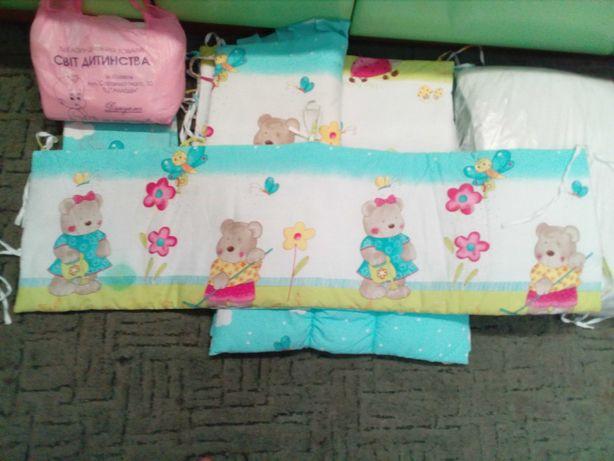 Постель в детскую кроватку красивая постіль в колиску