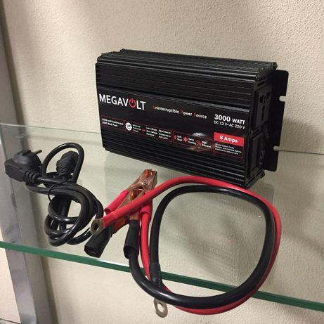 Преобразователь + зарядное напряжения Megavolt 12v 220v. 3000В