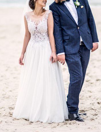 Suknia ślubna ozdobne odkryte plecy koronka lejący dół 36 38