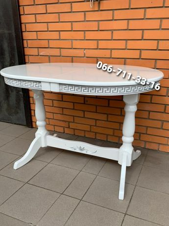 Деревянный стол КАРПАТЫ с патиной.  Белый стол патина СЕРЕБРО.