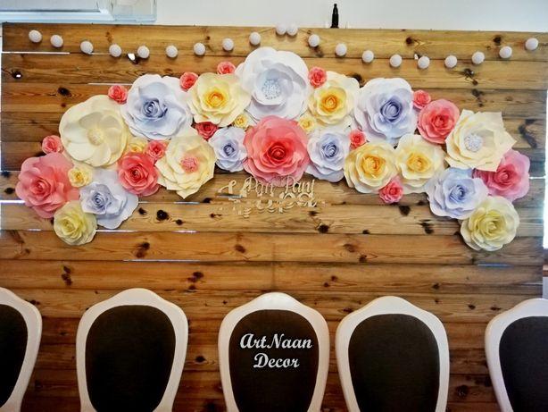 Papierowe kwiaty - dekoracja ślubna