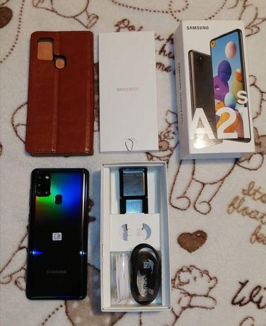 Samsung A21s szkło + skóra