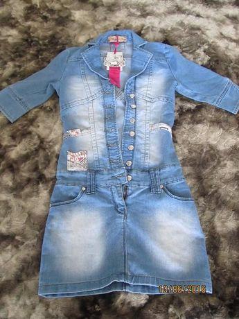 Симпатичное новое джинсовое платье размер С (в руб)