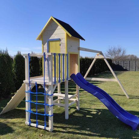 Drewniany plac zabaw domek dla dziecka