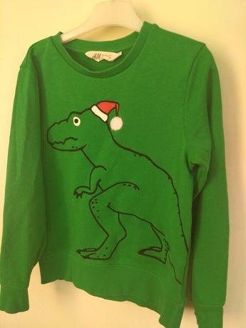 H&M джемпер свитер 7-8 лет 126 см зелёный новогодний динозавр