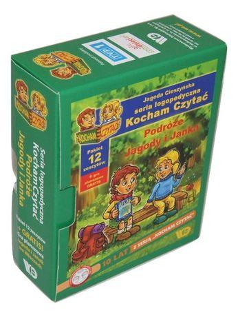 Kocham Czytać Podróże Jagody i Janka Pakiet 12 zeszytów i gra(zielone)