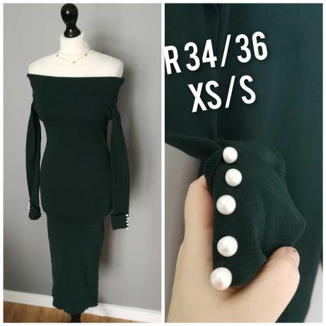 Butelkowa zielen sukienka sweterkowa hiszpanka rekaw perly 34 xs 36 s