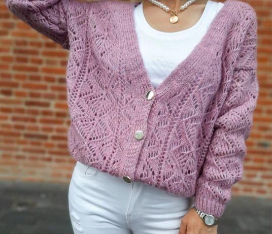 Sweter ażurowy rozpinany wrzos, fiolet