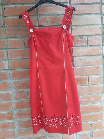 Красный летний костюм платье сарафан и пиджак