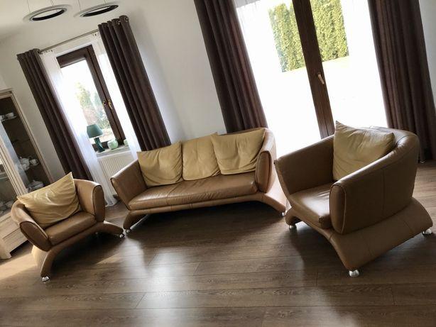 Komplet skórzany sofa i dwa fotele