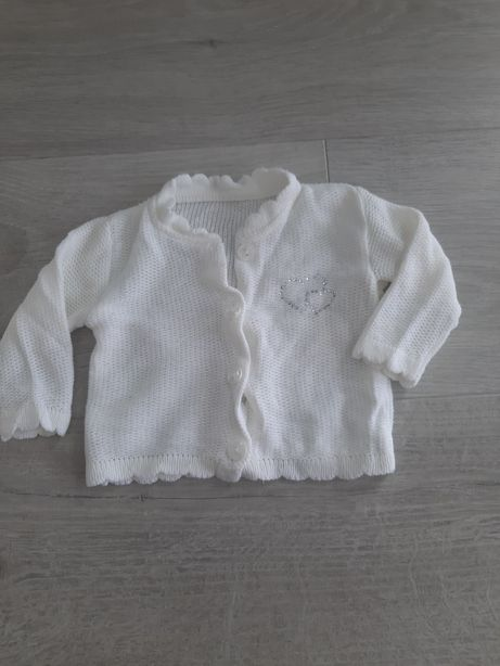 Sweterek,bolerko biały dla dziewczynki, chrzciny r.68