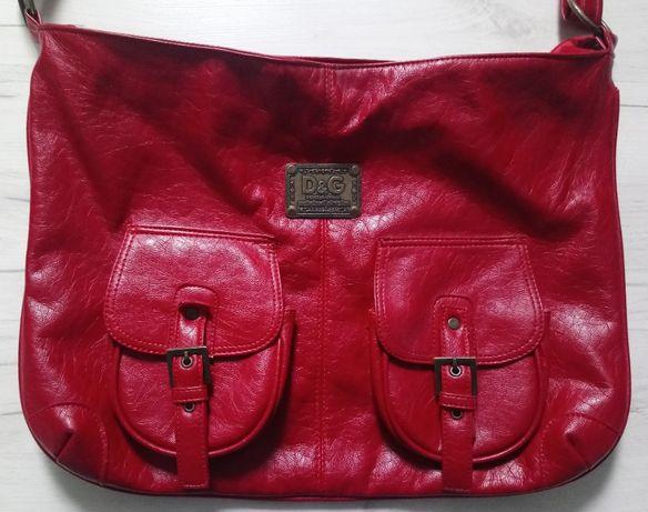 Piękna włoska skórzana torebka Dolce Gabbana D&G oryginał czerwona