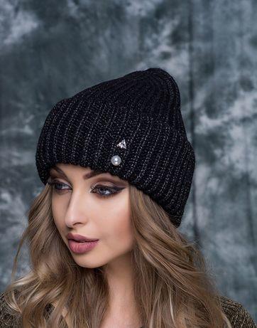 Вязаная шапка с люрексом / зимняя шапка
