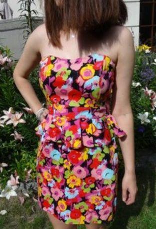 Стильное платье бюстье из хлопка с баской цветочный принт New Look