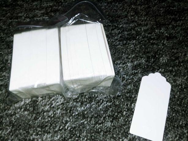 Zestaw 100szt białych zawieszek etykietek komunia ślub chrzest