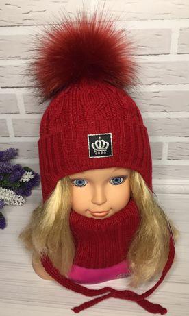 Зимняя шапочка с хомутом