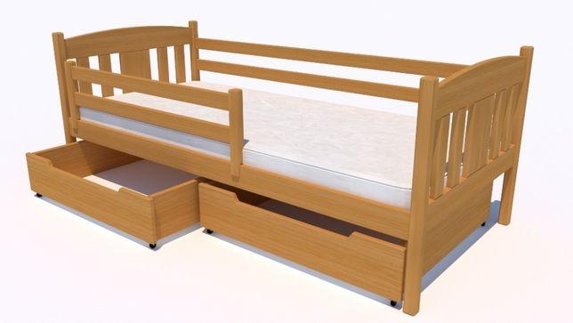 Solidne łóżeczko dla dziecka Oliwia z szufladami i barierką
