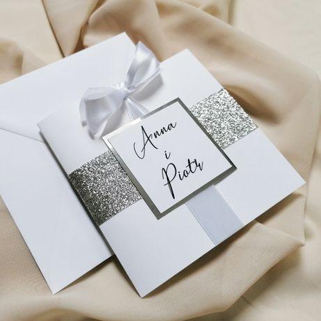 Eleganckie zaproszenia ślubne GLAMOUR srebro brokat