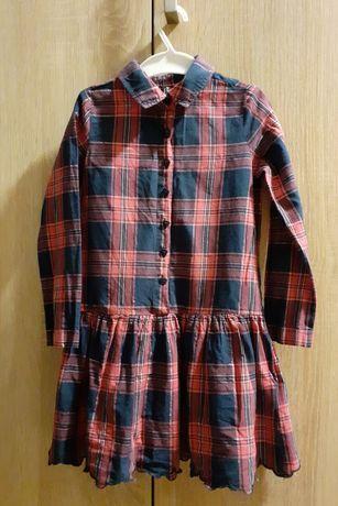Sukienka w kratkę elegancka z kołnierzykiem długi rękaw  Carry roz 110