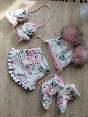 Komplet zestaw zimowy 6-9 msc czapka chusta rękawiczki buciki handmade