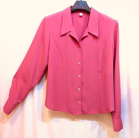 bluzka vintage długi rękaw kołnierz z klapami ciepły róż l