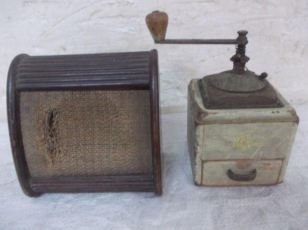 Stary głośnik Tesla i młynek do kawy herbaty - komplet