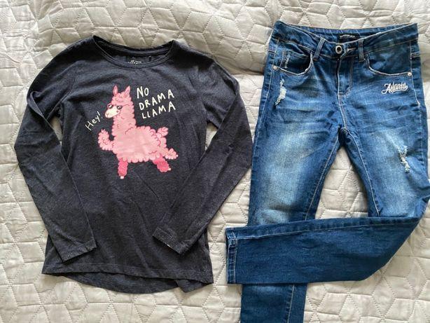 Spodnie jeans przetarcia+bluzka RESERVED rozm 140