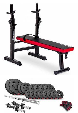 Набор скамья для жима + гриф + 2 гантели 60 кг / 94 кг / 124кг / 160кг