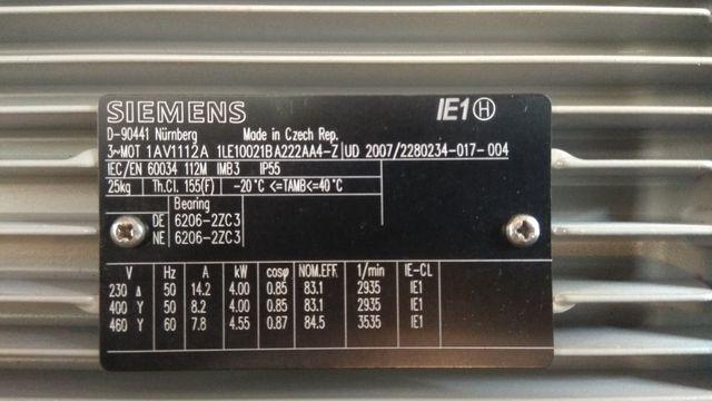 Электродвигатель siemens 4 квт 3000 об новые 2шт