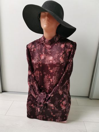 Mohito 38 M koszula bluzka elegancka atłas burgund śliwka modna
