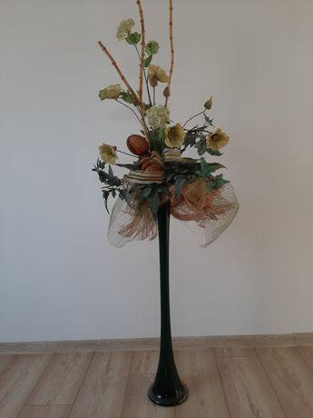 Wazon długi + kompozycja kwiatowa