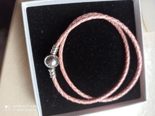 Pandora bransoletka  skórka nowa różowa