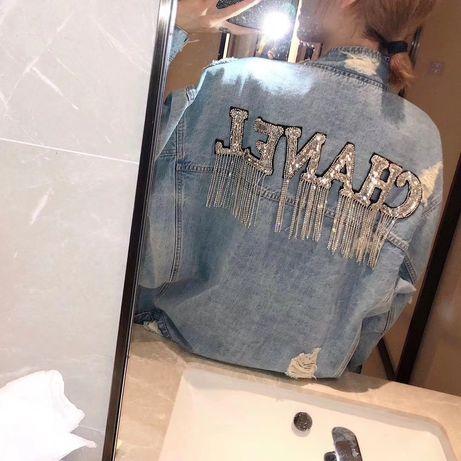 Jeansowa kurtka cyrkonie kryształki model Chanel M/L/XL