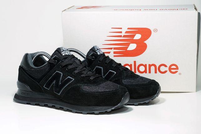 515 Кроссовки New Balance 574 (41-46) - Полностью черные, Замша, топ ц