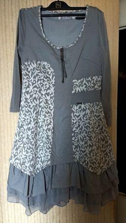 Платье fait pour vous облегающее р.48 принт стретч серое белое