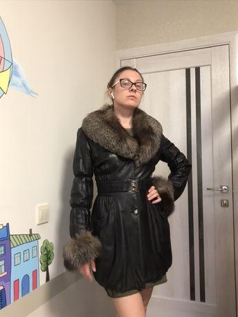 Продам шубу пальто кожаное