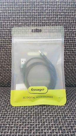 Kabel Essager Type-C USB-C 1.0m 3A Oryginalny czarny oplot NOWY