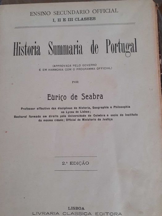 Compendio de Historia Sumaria de Portugal por eurico Seabra / 2 livros Estrela - imagem 1