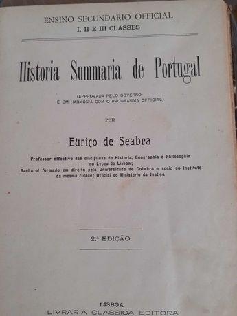Compendio de Historia Sumaria de Portugal por eurico Seabra / 2 livros