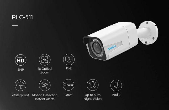Reolink RLC-511 /511W Ip-camera 5MP PoE/WiFi 2,4G/5G Micro SD 4x zoom
