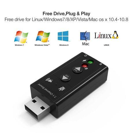 3D USB зовнішня звукова карта 7.1 каналу з регуляторами
