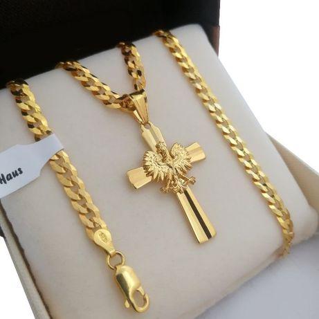 Luksusowy męski łańcuszek pancerka 55 cm +krzyżyk srebro 925+24k złoto