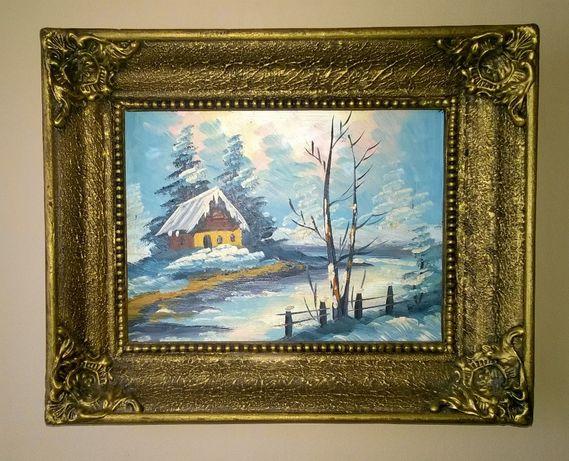stary obraz olejny na desce, chata za wsią, piękny pejzaż, nie Korecki