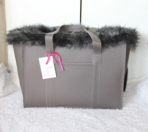 Lola Santoro skóra torebka na psa pieska szara czarna skórzana torba