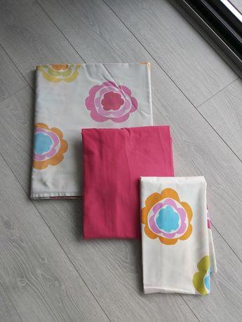 Conjuntos Têxteis 100% algodão flores e rosa: 2 cj Lençóis e 1 capa