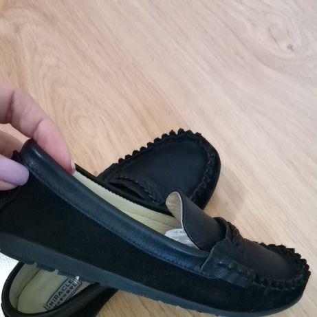 Кожаные макасины туфли кожа