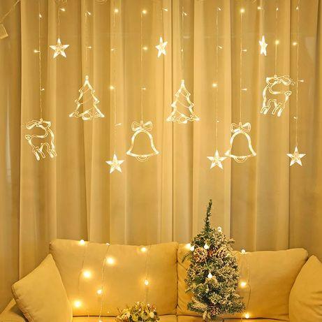 Новорічна гірлянда штора 3.5 м Звездопад елка Олени звезди месяц