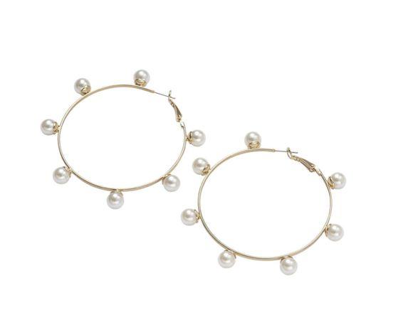 Сережки-кільця з намистинами під перли